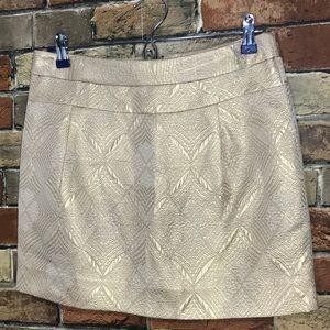 J crew gold mini skirt